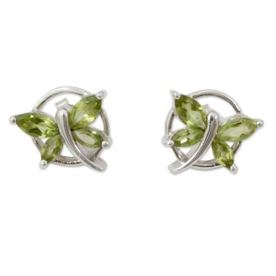 Peridot button earrings, 'Butterfly Gift' - Sterling Silver Butterfly Earrings with Peridot Birthstone