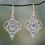 Artisan Crafted Blue Topaz Dangle Earrings with Chalcedony, 'Blue Arabesque'
