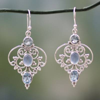 Blue topaz dangle earrings, 'Blue Arabesque' - Artisan Crafted Blue Topaz Dangle Earrings with Chalcedony