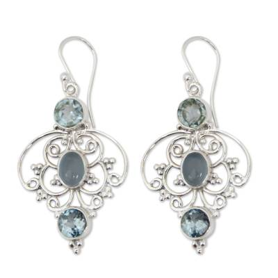 Artisan Crafted Blue Topaz Dangle Earrings with Chalcedony