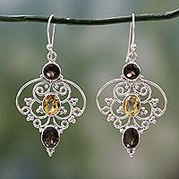 Smoky quartz and citrine dangle earrings, 'Dusk Arabesque' - Indian Sterling Silver Earrings with Smokey Quartz & Citrine
