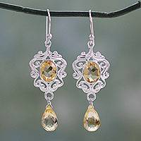 Citrine dangle earrings, 'Golden Dewdrops'