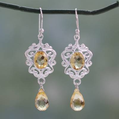 Citrine dangle earrings, 'Golden Dewdrops' - Indian Silver Dangle Earrings with 5 Carats of Citrine