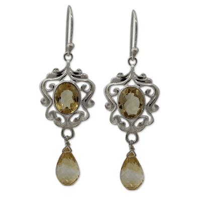 Citrine dangle earrings, 'Golden Dewdrops' - Indian Silver Dangle Earrings with 5 Carats of Citrine