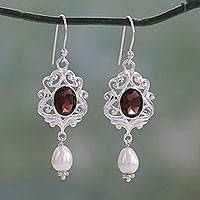 Cultured pearl and garnet dangle earrings, 'Classic India' - White Pearl and Garnet Earrings on Sterling Silver