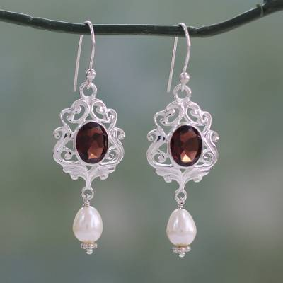 Cultured Pearl And Garnet Dangle Earrings Clic India White