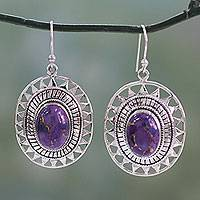 Sterling silver dangle earrings, 'Tribal Medallion' - Sterling Silver and Composite Turquoise Dangle Earrings