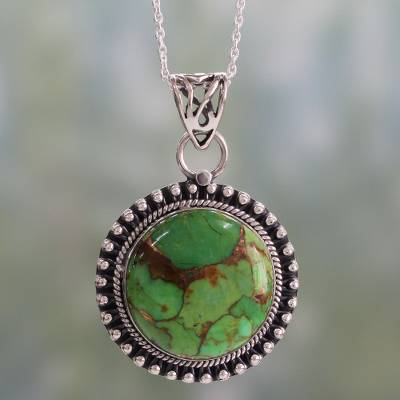 Sterling silver pendant necklace, 'Royal Garden' - Indian Silver Necklace with Green Composite Turquoise