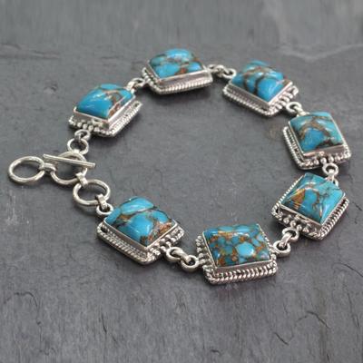 Sterling silver link bracelet, 'Ocean Sky' - Sterling Silver Link Bracelet with Composite Turquoise