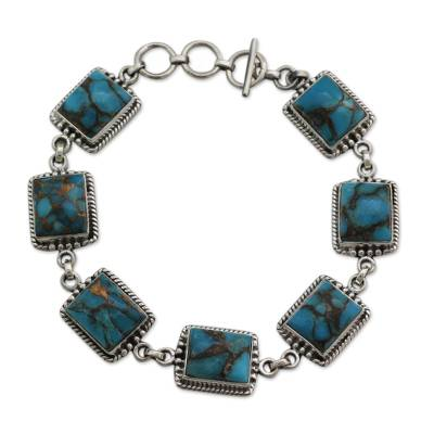 Sterling Silver Link Bracelet with Composite Turquoise