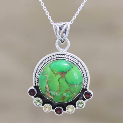 Multigem pendant necklace, 'Valley of Flowers' - Indian Silver Necklace with Green Composite Turquoise