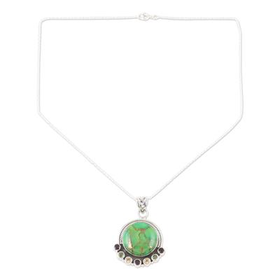 NOVICA Multi-Gem Reconstituted Turquoise .925 Sterling Silver Pendant Necklace Modern Mystique