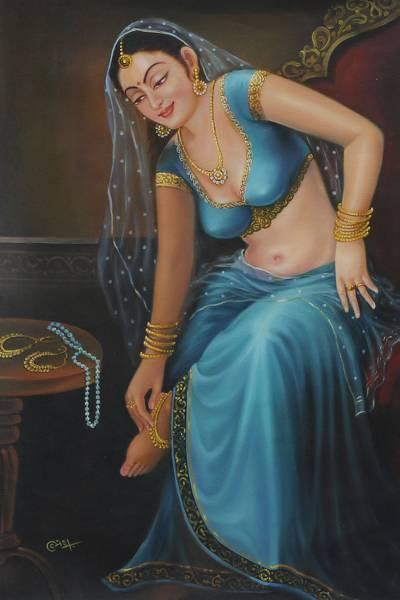 Mughal Style Oil Painting of a Woman in Blue - Adornment | NOVICA