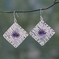 Amethyst dangle earrings, 'Purple Connection' - Sterling Silver Dangle Earrings Crafted with Amethysts