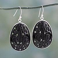 Carved onyx flower earrings, 'Gujurat Bouquet' - Indian Sterling Silver Earrings with Carved Onyx Flowers