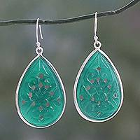 Carved onyx sterling silver flower earrings, 'Jaipur Blooms' - Sterling Silver Earrings with Flowers Carved on Green Onyx