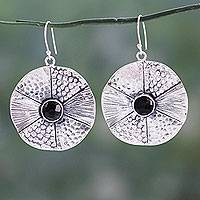 Onyx dangle earrings, 'Lotus Inspiration' - Onyx Gems on Round Textured Sterling Silver Hook Earrings