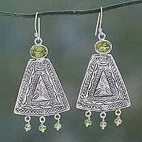 Peridot dangle earrings, 'Gujrati Tradition' - Handcrafted India Traditional Sterling Earrings with Peridot