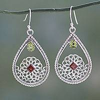 Peridot and garnet dangle earrings, 'Jali Glamour' - Traditional Indian Silver Earrings with Peridot and Garnet