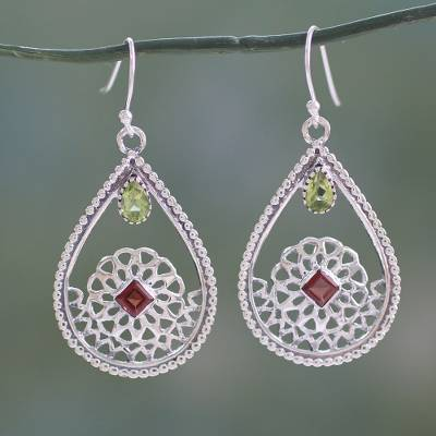 Peridot and garnet dangle earrings, 'Jali Glamour' - Traditional Indian Silver Earrings with Peridot and Garnet