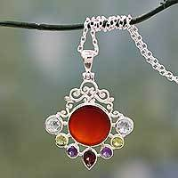 Multi gemstone pendant necklace, 'Beautiful Sun'