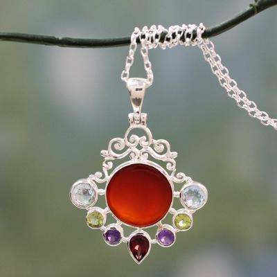 Multi gemstone pendant necklace, 'Beautiful Sun' - Multi Gemstone Pendant on Sterling Silver Necklace
