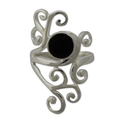 Onyx cocktail ring, 'Black Jasmine' - Sterling Silver Cocktail Ring with Black Onyx from India