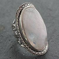 Rainbow moonstone cocktail ring, 'Goddess' - Rainbow Moonstone Artisan Crafted Silver Cocktail Ring
