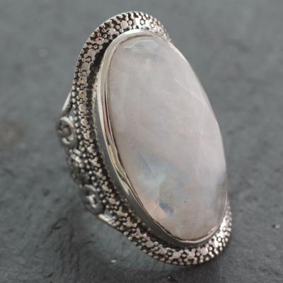 Rainbow moonstone cocktail ring, 'Goddess' - Rainbow Moonstone Artisan Crafted Silver Cocktail Ring