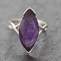 Amethyst cocktail ring, 'Marquise Princess' - Modern Amethyst and Sterling Silver Cocktail Ring