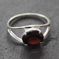 Garnet solitaire ring, 'Passionate' - Classic Handmade Sterling Silver and Garnet Solitaire Ring