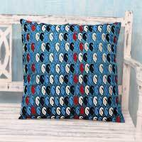 Embroidered cushion cover, 'Paisley Sea' - Embroidered Teal Blue Cushion Cover from India