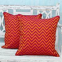 Embroidered cushion covers, 'Tribal Fuchsia' (pair) - Machine Embroidered Cushion Covers in Orange on Fuchsia