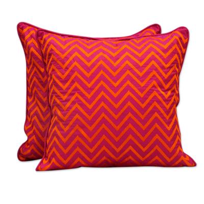 Embroidered cushion covers, 'Tribal Fuchsia' (pair) - Machine Embroidered Cushion Covers in Orange on Fuchsia