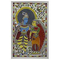 Madhubani painting, 'Divine Love' - Madhubani Painting of Krishna and Radha Hinduism Art