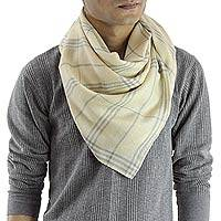 Men's wool and silk scarf, 'Yellow Srinagar' - Wool and Silk Scarf for Men in Grey over Light Yellow