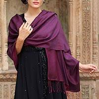 Silk and wool blend shawl, 'Burgundy Magic'