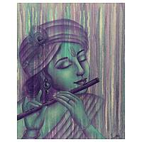 'Murlimanohar Krishna' - Original Signed Painting of Krishna