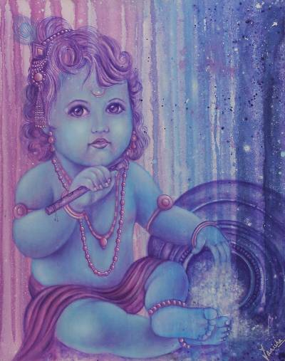 'Kanhaiya Krishna' - Original Portrait of Krishna as a Baby