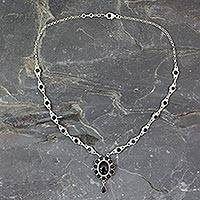 Onyx Y necklace, 'Night Drama' - Floral Sterling Silver and Onyx Hand Crafted Y Necklace