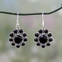 Onyx flower earrings, 'Night Drama' - Floral Sterling Silver and Onyx Hand Crafted Earrings