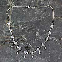 Rainbow moonstone waterfall necklace, 'Queen of Diamonds' - Handmade Rainbow Moonstone and Silver jewellery from India