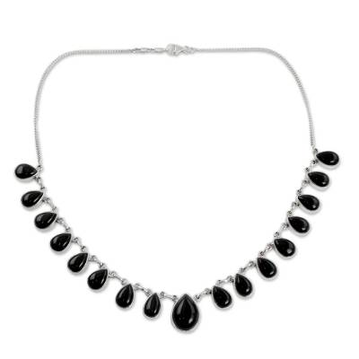 Indian Onyx and Sterling Silver Hand Crafted Necklace