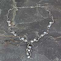 Rainbow moonstone Y necklace, 'Lotus Buds' - Handmade Sterling Silver Y Necklace with Rainbow Moonstones