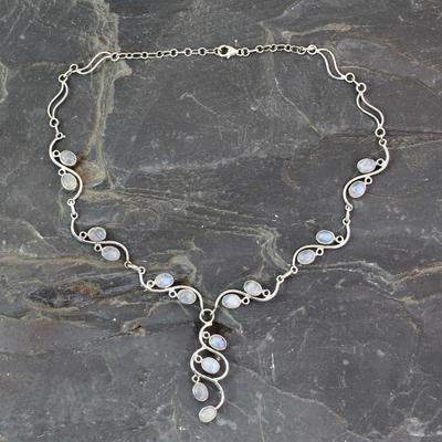 Rainbow moonstone Y necklace, 'Lotus Buds' - Handmade Sterling Silver Y Necklace with Rainbow Moonstones
