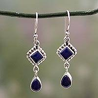 Lapis lazuli dangle earrings, 'Queen of Diamonds'