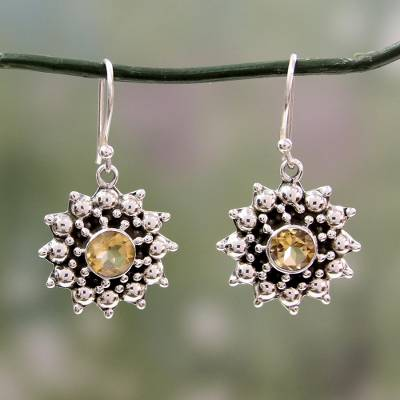 Citrine dangle earrings, 'Star' - Artisan Crafted  Citrine and Sterling Silver Star Earrings