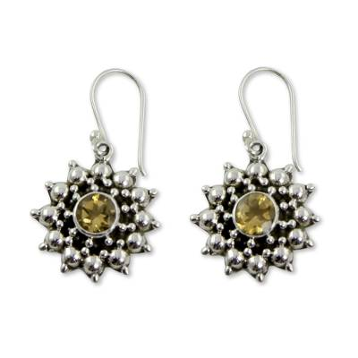 Artisan Crafted Citrine and Sterling Silver Star Earrings