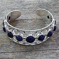 Lapis lazuli cuff bracelet, 'Nostalgia' - Lapis Lazuli and Sterling Silver Cuff Bracelet from India
