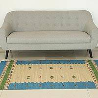 Wool area rug, 'Sky of India' - Blue Border Handwoven Wool Dhurrie Area Rug